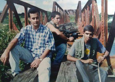 Alberto, Paco e Gercyley, gravando programa Goiás Adentro, em Pires do Rio-GO