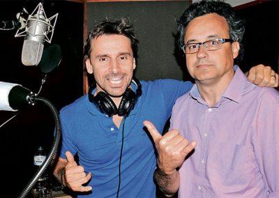 Com Murilo Rosa no estúdio gravando canções do filme VAZIO CORAÇÃO.