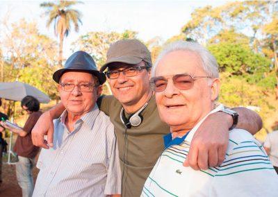 Alberto Araújo nas filmagens de Vazio Coração com o ator Othon Bastos e o produtor Timóteo Ribeiro.